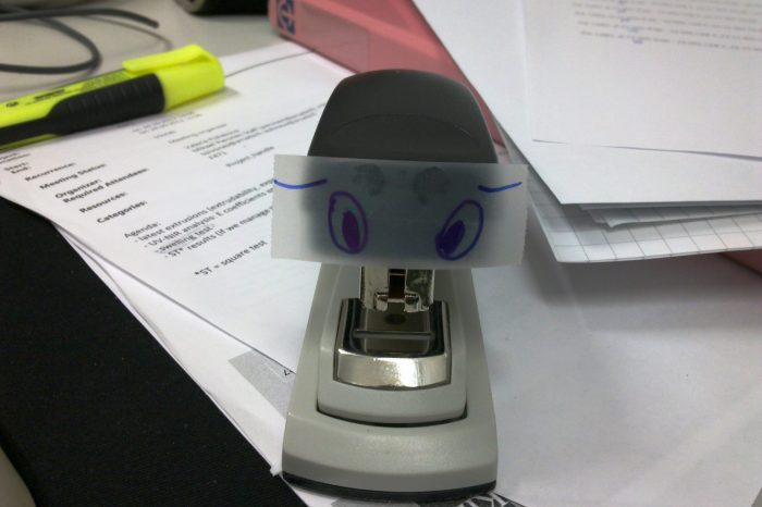 stapler with eyes
